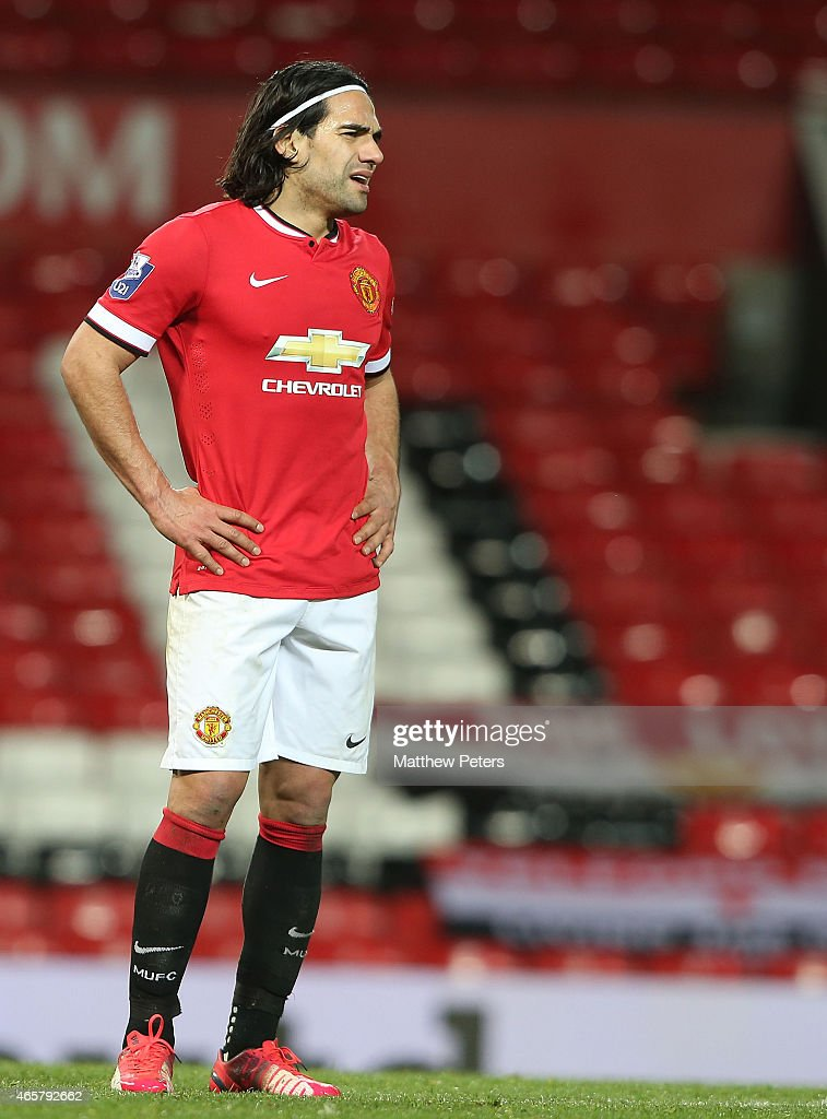 Radamel Falcao of Manchester United U21s reacts to being substituted during the Barclays U21 Premier League match between Manchester United and Tottenham Hotspur at Old Trafford on March 10, 2015 in Manchester, England.