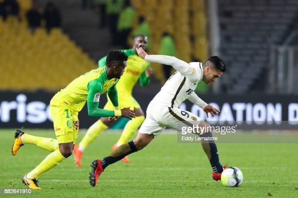 Radamel Falcao of Monaco and Abdoulaye Toure of Nantes during the Ligue 1 match between FC Nantes and AS Monaco at Stade de la Beaujoire on November...