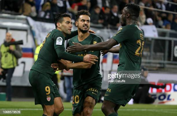 Radamel Falcao of Monaco celebrates his first goal on a penalty kick with Nacer Chadli Judilson Mamadu Tuncara Gomes aka Pele during the Ligue 1...