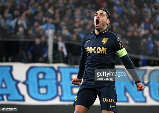 Radamel Falcao of Monaco celebrates his goal during the French Ligue 1 match between Olympique de Marseille and AS Monaco at Stade Velodrome on...