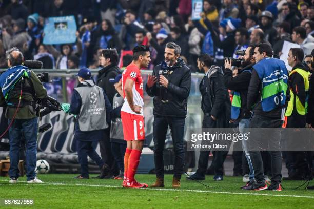 Radamel Falcao of Monaco during an interview with Dominique Armand of Canal during the Uefa Champions League match between Fc Porto and As Monaco at...