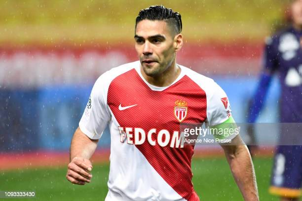 Radamel Falcao of Monaco during the Ligue 1 match between Monaco and Toulouse at Stade Louis II on February 2 2019 in Monaco Monaco