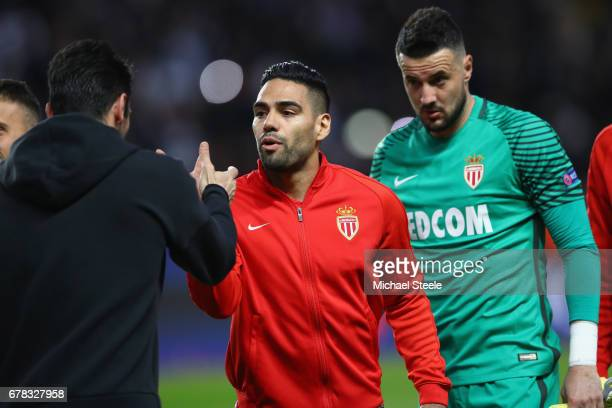 Radamel Falcao of Monaco greets Gianluigi Buffon of Juventus as Danijel Subasic looks on during the UEFA Champions League Semi Final first leg match...
