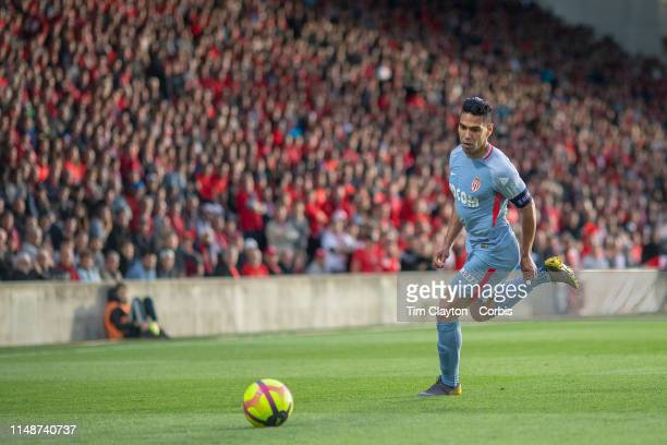 May 11: Radamel Falcao of Monaco in action during the Nimes V Monaco, French Ligue 1, regular season match at Stade des Costières on May 11th 2019,...