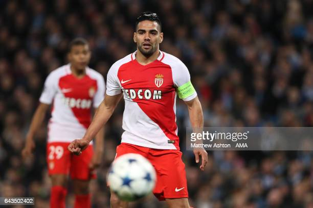 Radamel Falcao of Monaco in action during the UEFA Champions League Round of 16 first leg match between Manchester City FC and AS Monaco at Etihad...