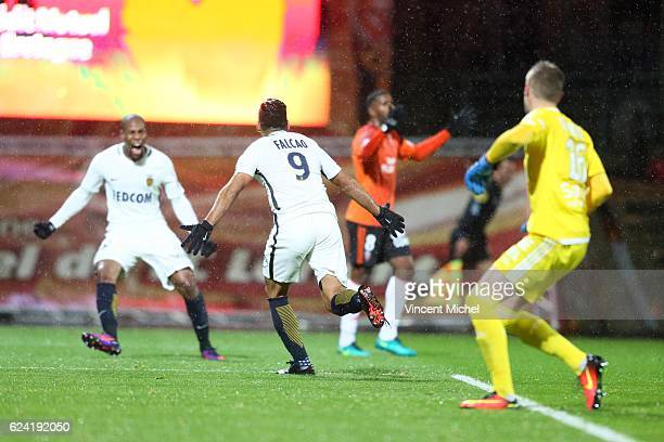 Radamel Falcao of Monaco jubilates after scoring the first goal during the Ligue 1 match between Fc Lorient and As Monaco at Stade du Moustoir on...