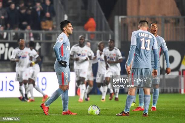 Radamel Falcao of Monaco looks dejected during the Ligue 1 match between Amiens SC and AS Monaco at Stade de la Licorne on November 17 2017 in Amiens