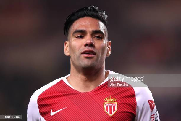 Radamel Falcao of Monaco looks on during the Ligue 1 match between AS Monaco and FC Nantes at Stade Louis II on February 16 2019 in Monaco Monaco
