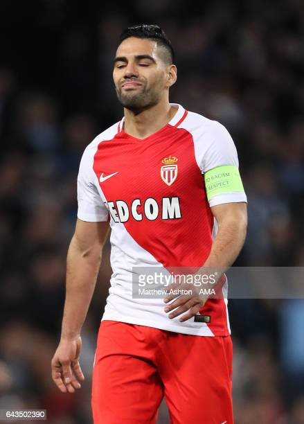 Radamel Falcao of Monaco reacts during the UEFA Champions League Round of 16 first leg match between Manchester City FC and AS Monaco at Etihad...