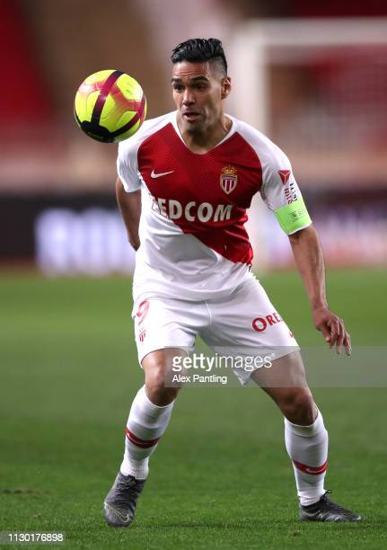 Radamel Falcao of Monaco runs with the ball during the Ligue 1 match between AS Monaco and FC Nantes at Stade Louis II on February 16 2019 in Monaco...