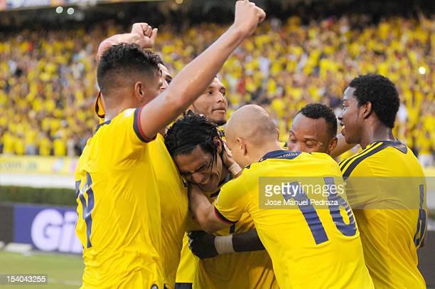 Radamel Falcao Teofilo Gutierrez Elkin Soto Carlos Sanchez and Camilo Zuñiga of Colombia celebrating the victory during a match between Colombia and...