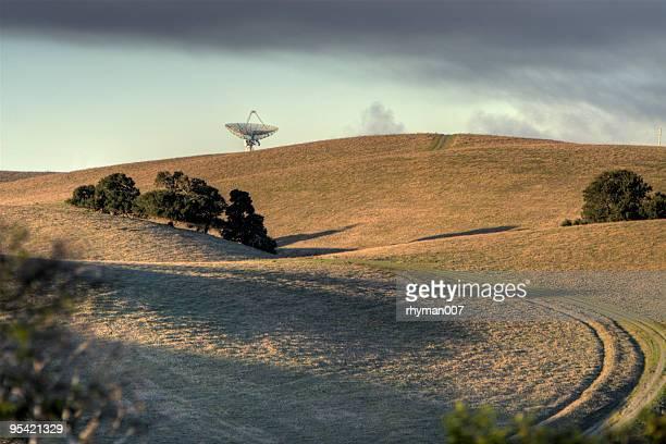 Radar dish on a hill