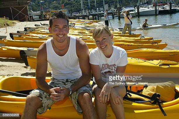 Radar Kiss and Tell picture of contestants Athol Halvorsen and Claudia Pitts kayaking on their date at the Spit Bridge Mosman 3 April 2005 SMH...