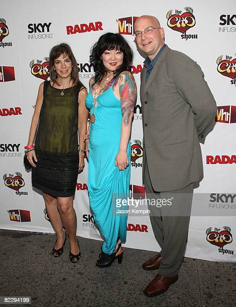 Radar publisher Anne Perton comedian Margaret Cho and Radar associate publisher PJ Lucus attend the premiere of VH1's 'The Cho Show' at Le Royale...