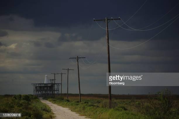 Radar station at the Texas Point National Wildlife Refuge ahead of Hurricane Laura in Sabine Pass, Texas, U.S., on Tuesday, Aug. 25, 2020. Hurricane...