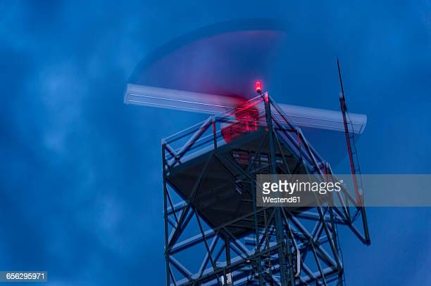 Radar station, weather radar at night