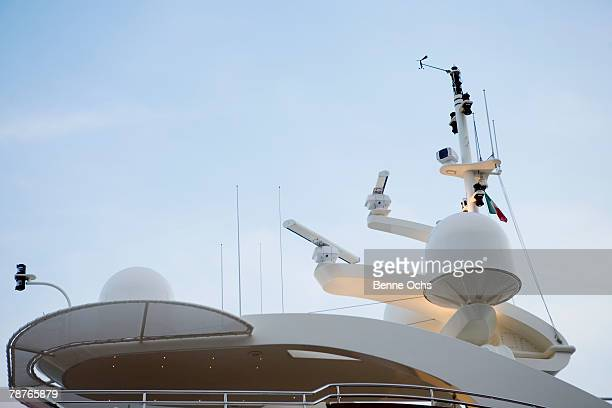 Radars on the top of a yacht