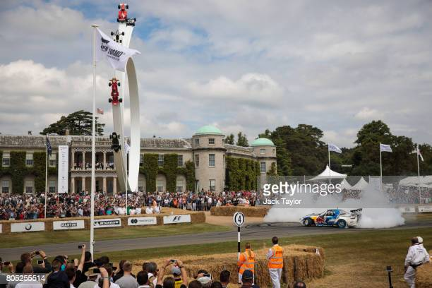 A 'Radbul' Mazda MX5 car performs a wheel spin at Goodwood Festival of Speed on July 01 2017 in Chichester England The Goodwood Festival of Speed is...