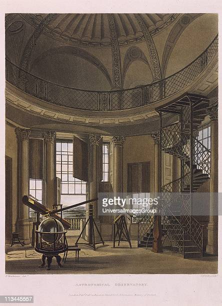 Radcliffe Observatory Oxford England 1814 Telescopes of various sizes including one by William Herschel From History of Oxford by Rudolph Ackerman...