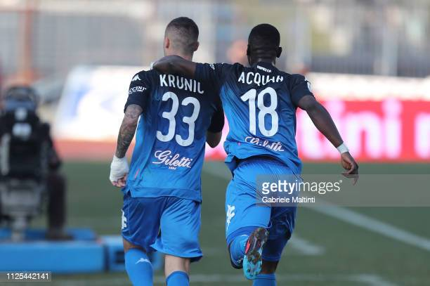 Rade Krunic and Afriye Acquah of Empoli FC celebrates after scoring a goal during the Serie A match between Empoli and US Sassuolo at Stadio Carlo...