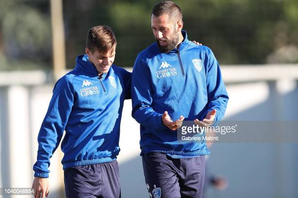 Rade Krunic and Giovanni Di Lorenzo of Empoli FC during training session on September 25 2018 in Empoli Italy
