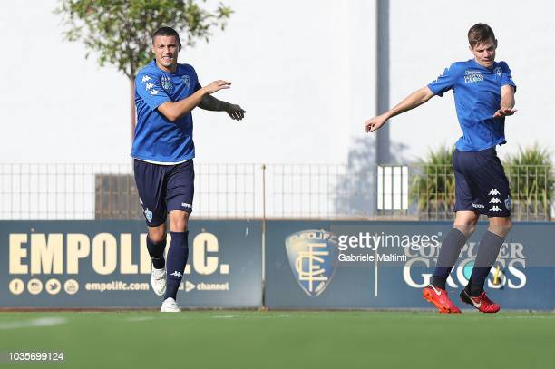 Rade Krunic and Miha Zajc of Empoli FC in action during training session on September 18 2018 in Empoli Italy