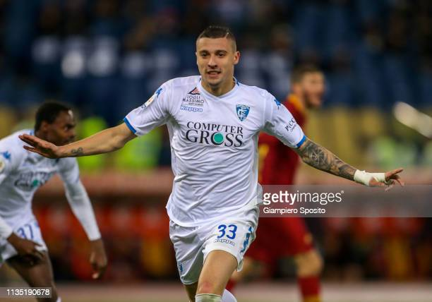 Rade Krunic of Empoli celebrates after scoring a goal subsequently disallowed by the referee Fabio Maresca after a VAR review during the Serie A...