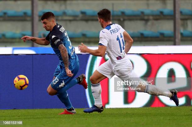 Rade Krunic of Empoli FC battles for the ball with Remo Freuler of Atalanta BC during the Serie A match between Empoli and Atalanta BC at Stadio...