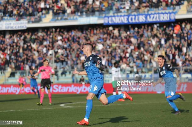 Rade Krunic of Empoli FC celebrates after scoring a goal during the Serie A match between Empoli and US Sassuolo at Stadio Carlo Castellani on...