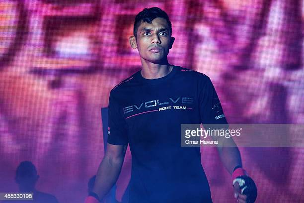 Radeem Rahman enters the cage before his fight against Sung Ming Yen during One FC Cambodia on September 12 2014 in Phnom Penh Cambodia