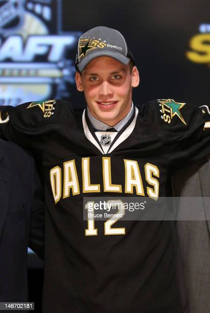 Radek Faksa, 13th overall pick by the Dallas Stars, poses on stage during Round One of the 2012 NHL Entry Draft at Consol Energy Center on June 22,...
