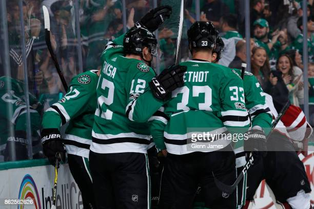 Radek Faksa Devin Shore and Marc Methot of the Dallas Stars celebrate a goal against the Arizona Coyotes at the American Airlines Center on October...