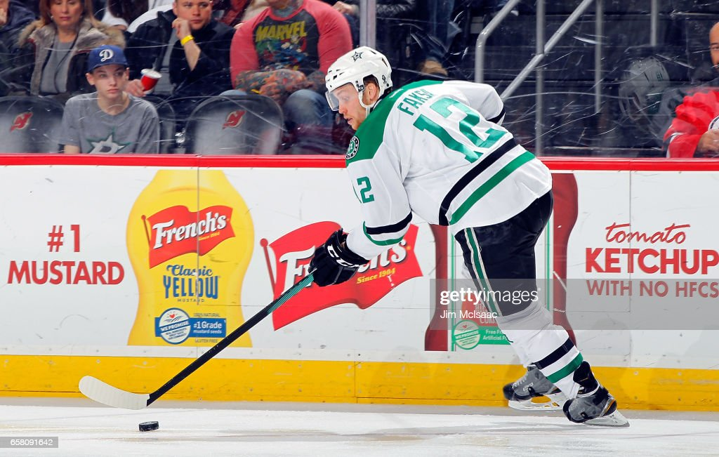 Radek Faksa #12 of the Dallas Stars controls the puck against the New Jersey Devils during the game on March 26, 2017 at Prudential Center in Newark, New Jersey.