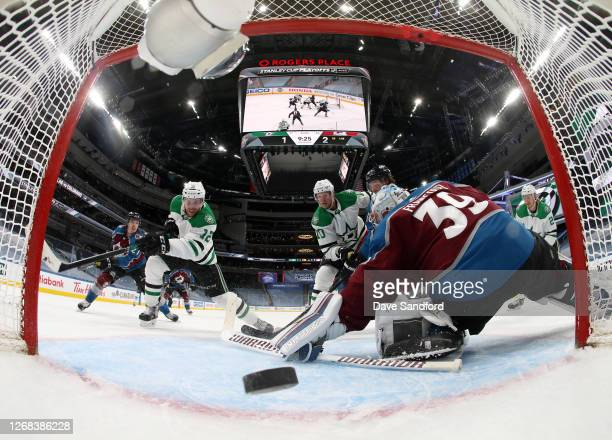 Radek Faksa of the Dallas Stars puts the rebound into the net for a goal against goaltender Pavel Francouz of the Colorado Avalanche in the second...