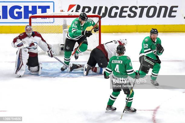 Radek Faksa of the Dallas Stars scores a goal past Pavel Francouz of the Colorado Avalanche during the first period in Game Four of the Western...