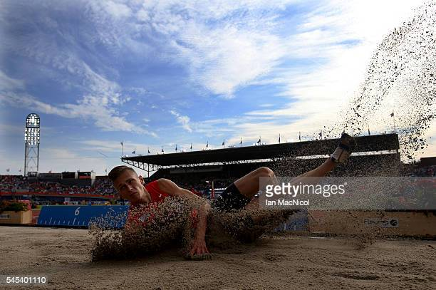 Radek Juska of Czech Republic competes in the final of the Men's Long Jump during Day Two of The European Athletics Championships at Olympic Stadium...