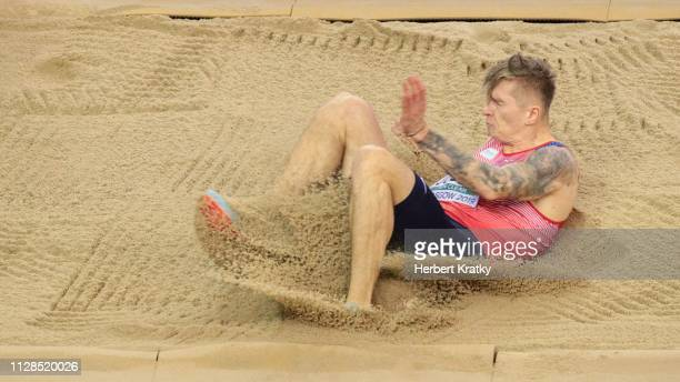 Radek Juska of the Czech Republic competes in the men's long jump event on March 3 2019 in Glasgow United Kingdom