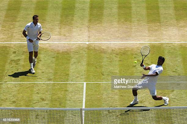 Radek Stepanek of Czech Republic and Leander Paes of India during their Gentlemen's Doubles QuarterFinal match against Nenad Zimonjic of Serbia and...