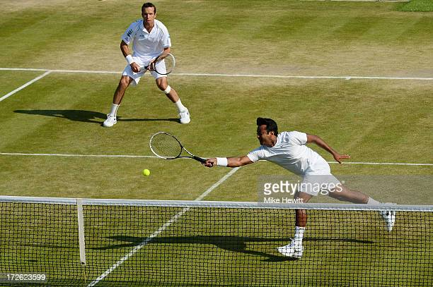 Radek Stepanek of Czech Republic and Leander Paes of India in action during the Gentlemen's Doubles semi final match against Ivan Dodig of Croatia...