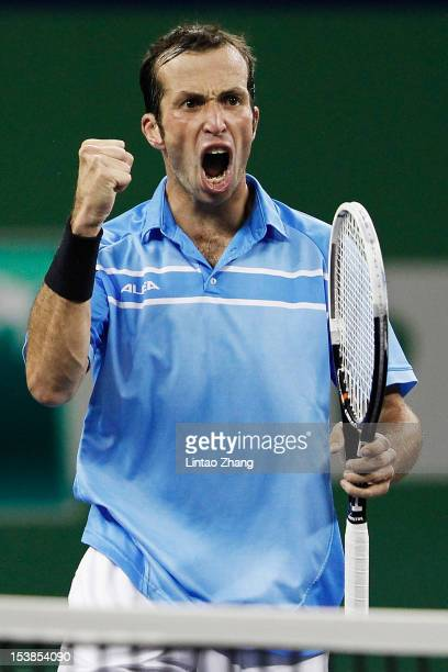 Radek Stepanek of Czech Republic celebrates winning against Richard Gasquet of France during the day four of Shanghai Rolex Masters at the Qi Zhong...