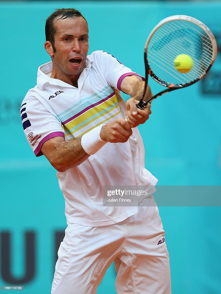 Radek Stepanek of Czech Republic in action against Bernard Tomic of Australia during day two of the Mutua Madrid Open tennis tournament at the Caja Magica on May 5, 2013 in Madrid, Spain.