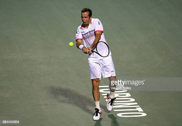 Radek Stepanek of Czech Republic plays a shot against Novak Djokovic of Serbia during Day 4 of the Rogers Cup at the Aviva Centre on July 28 2016 in...