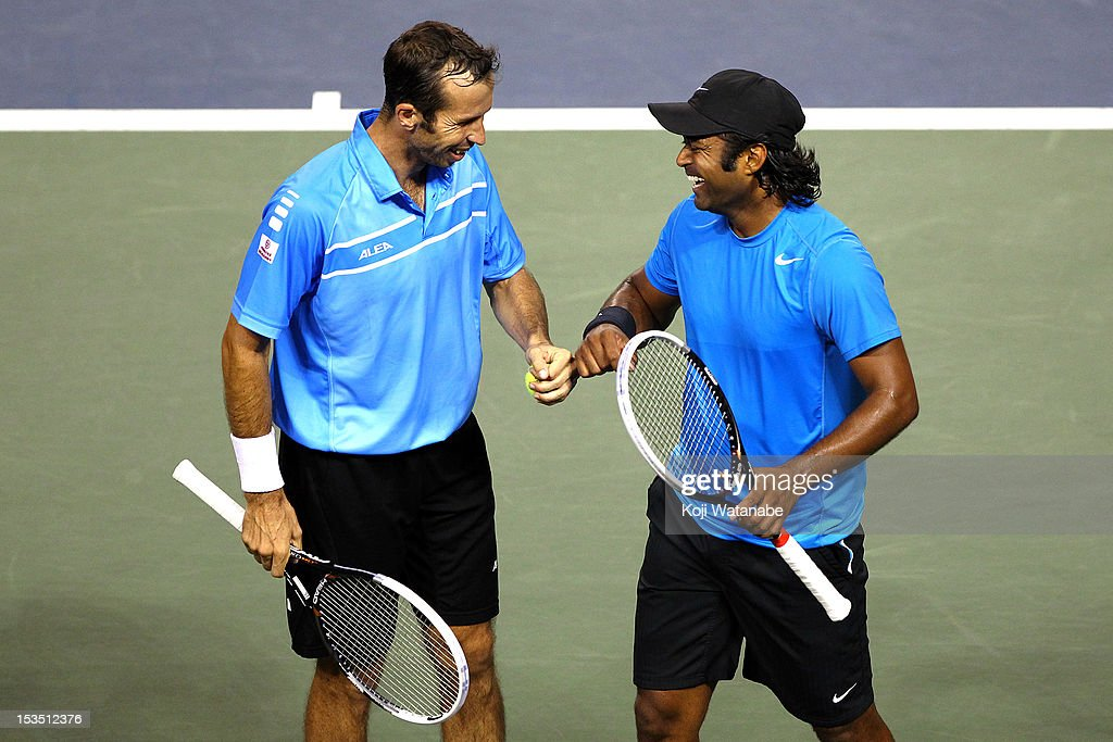 Radek Stepanek of the Czech Republic and Leander Paes (R) of India in action their semi final doubles match against Daniele Bracciali of Italy and Frantisek Cermak of the Czech Republic during day six of the Rakuten Open at Ariake Colosseum on October 6, 2012 in Tokyo, Japan.