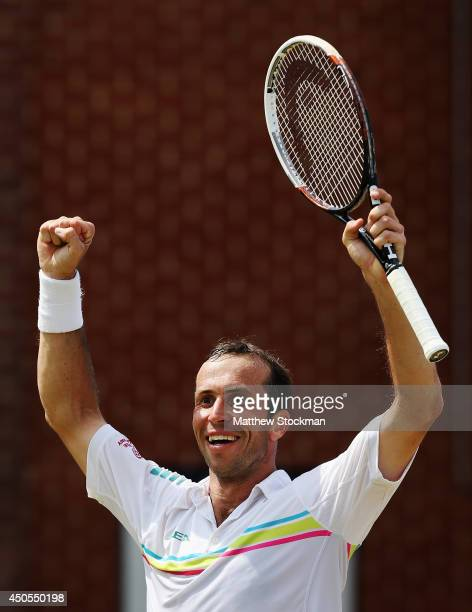 Radek Stepanek of the Czech Republic celebrates victory over Kevin Anderson of South Africa during their Men's Singles match on day five of the Aegon...