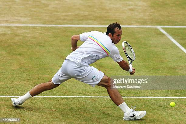Radek Stepanek of the Czech Republic in action against Feliciano Lopez of Spain during their Men's Singles semi-final match on day six of the Aegon...
