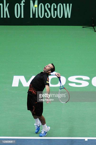 Radek Stepanek of the Czech Republic in action against Victor Hanescu of Romania during the XXI International Tennis Tournament Kremlin Cup 2010 at...