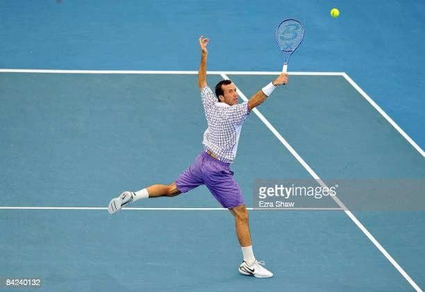 Radek Stepanek of the Czech Republic returns a shot to Fernando Verdasco of Spain during the men's singles final on day eight of the Brisbane...