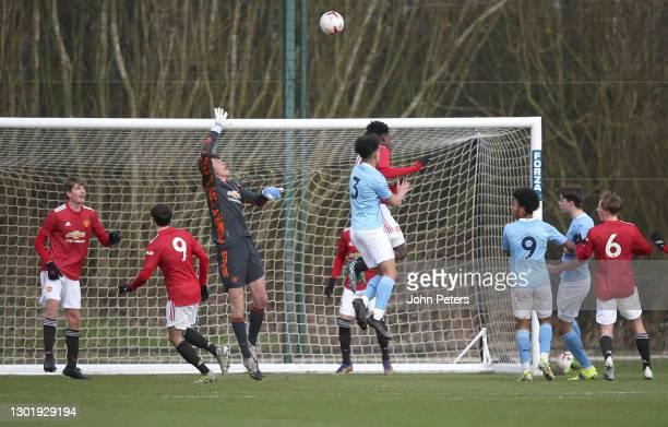 Radek Vitek of Manchester United U18s in action during the U18 Premier League match between Manchester United U18s and Manchester City U18s at Aon...