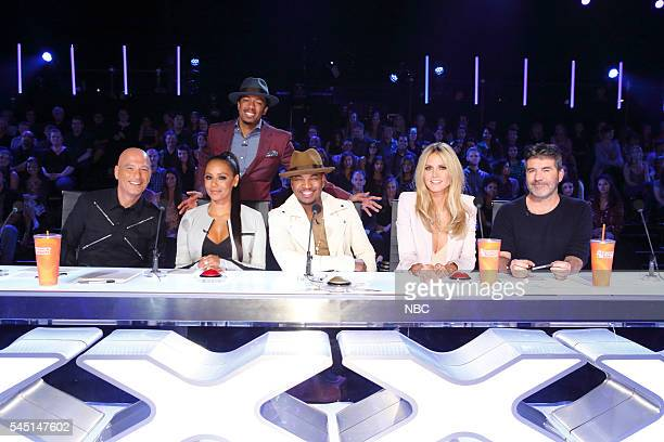 S GOT TALENT 'CBS Radford Auditions' Pictured Howie Mandel Mel B Nick Cannon NeYo Heidi Klum Simon Cowell
