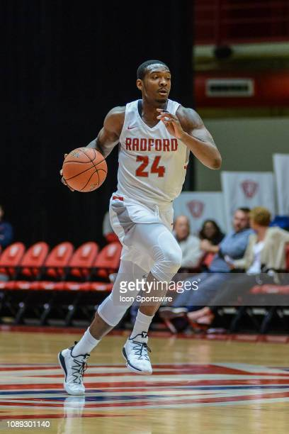 Radford Highlanders forward Ed Polite Jr. Brings the ball down the court during a game between the Charleston Southern Buccaneers and the Radford...